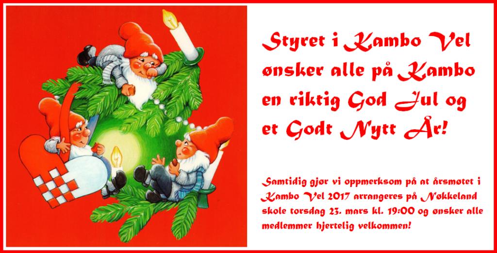 Styret i Kambo Vel ønsker alle på Kambo en riktig God Jul og et Godt Nytt År. Samtidig gjør vi oppmerksom på at årsmøtet i Kambo Vel 2017 arrangeres på Nøkkeland skole torsdag 23. mars kl. 19:00 og ønsker alle medlemmer hjertelig velkommen!